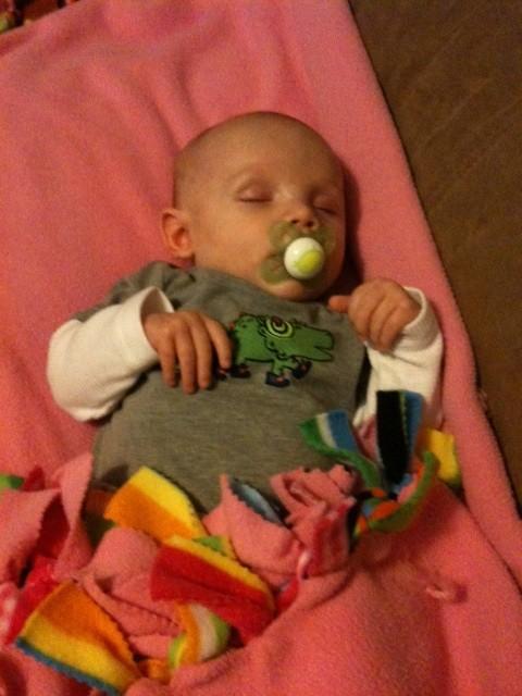Nephew on a pink blanket? Tsk tsk mom! Ha just kidding. =]