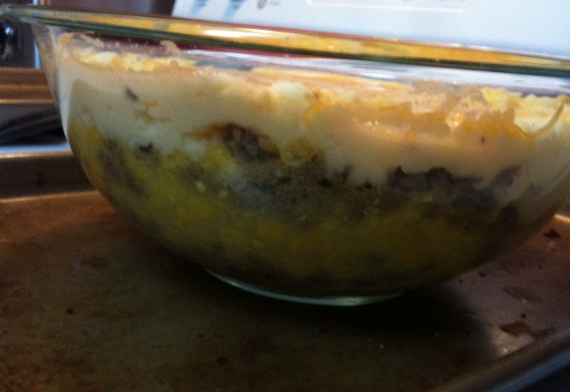 Shepherd's Pie Layers Before Baked