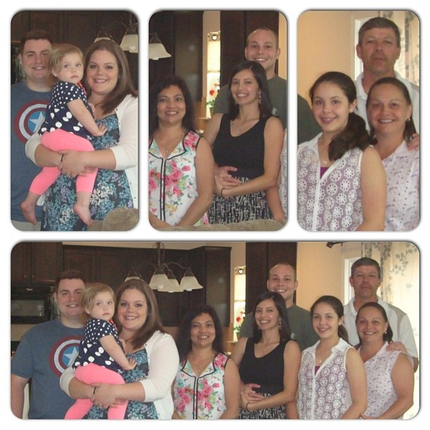 Left to right: Brother in law, (baby) Niece, sister in law, my mom, me, Hubs (behind me), younger sister in law, mother in law and father in law.