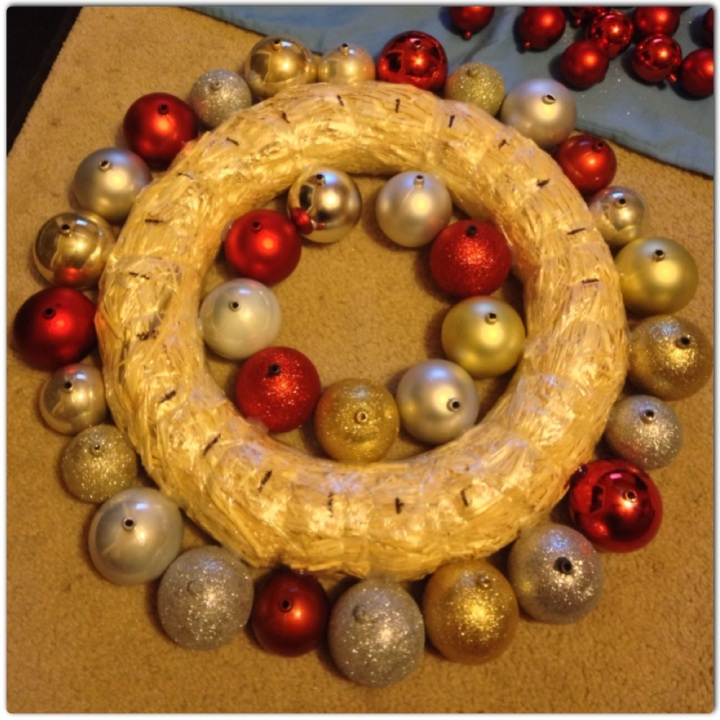 Beginning the ornament wreath