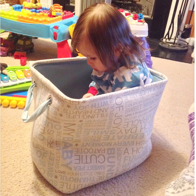 Baby in a bag of books.